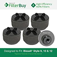 4 - FilterBuy Bissell Style 9/10/12 Compatible Filters, Part #s 32064, 2031183 & 2031464. Designed by FilterBuy to fit All Bissell PowerClean & PowerForce Upright Vacuum Cleaners