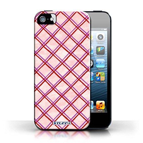 Etui / Coque pour Apple iPhone 5/5S / Rose/Rouge conception / Collection de Motif Entrecroisé