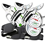 Cate's Garden 8-Piece Garden Tool Set- 2 Ultra Comfort Knee Pads, 2 Bypass & 2 Ratchet Pruning Shears 8'' Easy Action Anvil-type Premium Hand Pruner, 2 Compost Thermometer Premium Stainless Steel