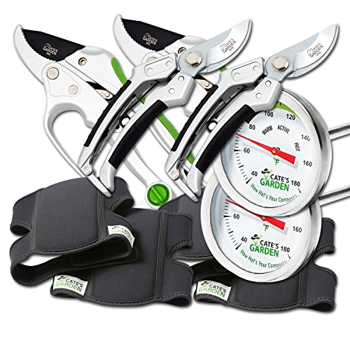 Cate's Garden 8-Piece Garden Tool Set- 2 Ultra Comfort Knee Pads, 2 Bypass & 2 Ratchet Pruning Shears 8'' Easy Action Anvil-type Premium Hand Pruner, 2 Compost Thermometer Premium Stainless Steel by Cate's Garden