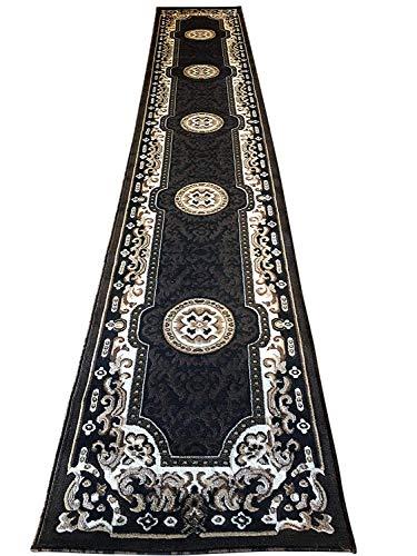 (Traditional Long Runner Area Rug Kingdom Black Design D123 (2 Feet 4 Inch X 10 Feet 11 Inch ))