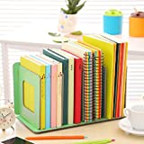 Fashion Simple Design Premium PP Material File Rack Holder, 4 Compartments Documents Organizer Holder Desktop Magazine Sorter Book Shelf Storage Box Freestanding DIY for Notebook Home School Office