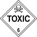 Accuform MPL606CT50 PF-Cardstock Hazard Class 6 DOT Placard, Legend''TOXIC 6'' with Graphic, 10-3/4'' Width x 10-3/4'' Length, Black on White (Pack of 50)