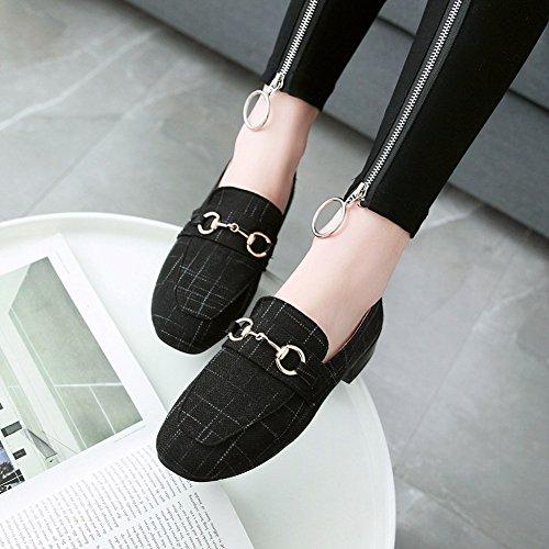 Bedel Voet Dames Vierkante Neus Lage Hak Vintage Instappers Schoenen Zwart