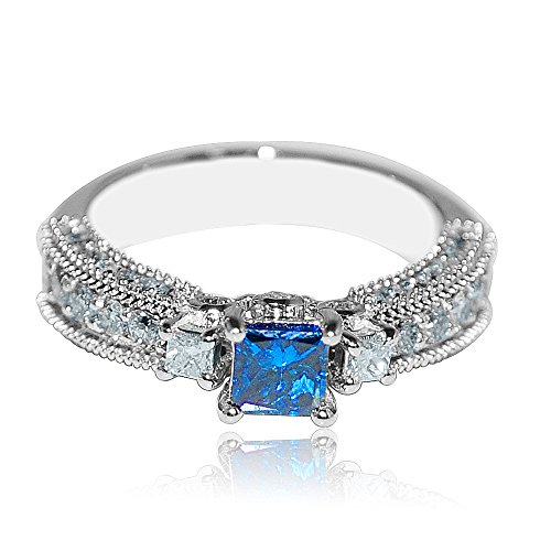 Princess cut Blue Diamond Engagement Ring 1.3cttw w 10K White Gold Vintage
