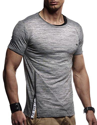 Leif Nelson Herren Sommer T-Shirt Rundhals-Ausschnitt Slim Fit Baumwolle-Anteil Moderner Männer T-Shirt Crew Neck Hoodie-Sweatshirt Kurzarm lang LN1215