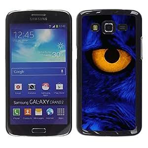 TECHCASE**Cubierta de la caja de protección la piel dura para el ** Samsung Galaxy Grand 2 SM-G7102 SM-G7105 ** Yellow Eye Close Cat Feline Blue Portrait