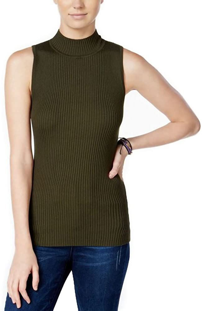 Hooked Up by IOT Juniors Ribbed Mock-Neck Sweater Thyme Green