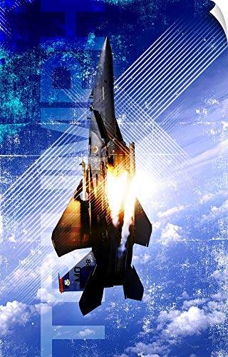 - Canvas on Demand Kate Lillyson Wall Peel Wall Art Print entitled Military Grunge Poster: Triumph. An F-15E Strike Eagle pops flares 44