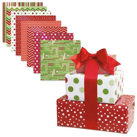 Wrapping Flat Paper Gift (Christmas Patterns Flat Gift Wrap Value Pack- Set of 8 Sheets in Festive Holiday Designs, Peek Proof Wrapping Paper)