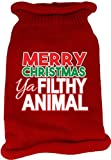 Mirage Pet Products 621-16 MDRD Ya Filthy Animal Screen Print Knit Red Pet Sweater, Medium