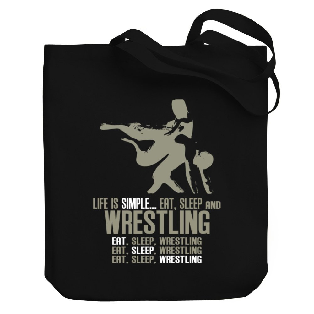 Teeburon Life is simple eat, sleep and Wrestling Canvas Tote Bag