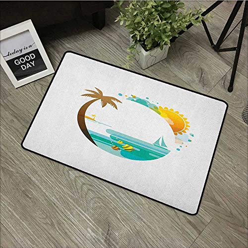 Learning pad W19 x L31 INCH Beach,Tropical Paradise Summer Season Palm Tree Silhouette with Fish and Sun, Turquoise Marigold Brown Easy to Clean, no Deformation, no Fading Non-Slip Door Mat Carpet -