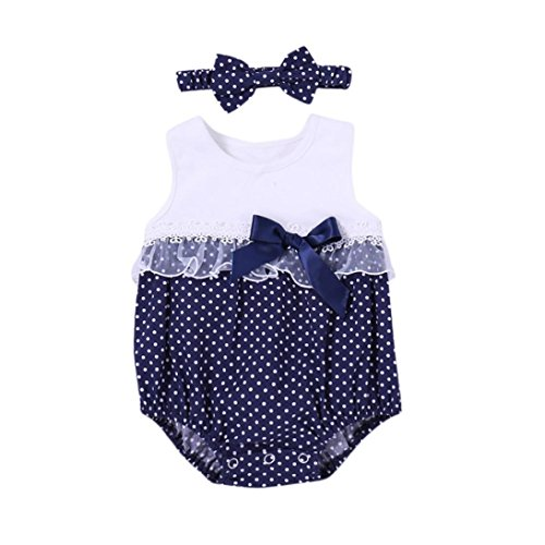 Winsummer Toddler Baby Girls Dot Lace Rompers Bodysuit With Bowknot Headband Easter'S Outfits (White, 0-6M)