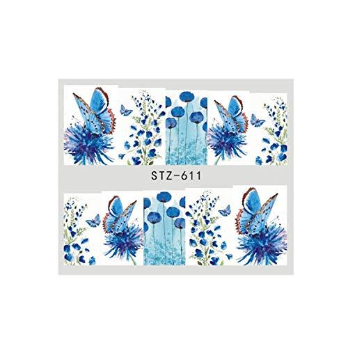 Brad Bloom Flower - 1 Sheets Beauty Slider Nail Sticker Bloom Colorful Decals Tool TRSTZ608-637,STZ611