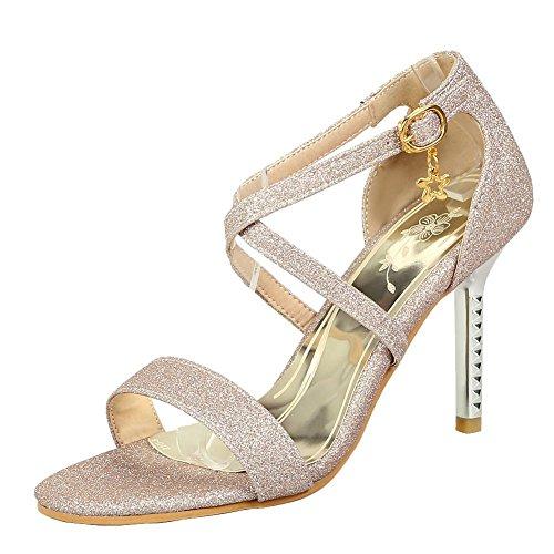 Mee Shoes Women's Shining Stiletto Buckle Sandals Gold 0hqlen