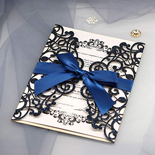 JOFANZA 20x Glitter Laser Cut Invitation Cards with Ribbon and Envelopes for Qinceanera Engagement Birthday Bridal Shower Baby Shower Graduation Party (Royal Blue Wedding Invitation Kit)