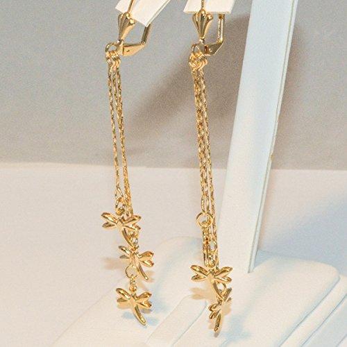 (1-1235-e4 Dangling Dragonfly Earrings)