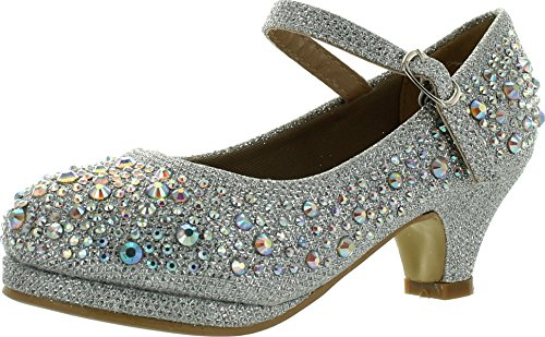 Titan Mall Forever Dana-58K Kids Mid Heel Rhinestone Pretty Sandal Mary Jane Platform Dress Pumps,Silver,1