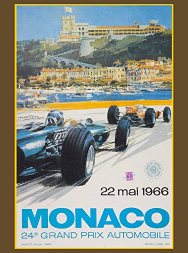 A SLICE IN TIME 1966 Monaco 24th Grand Prix Automobile Race Car Travel Advertisement Vintage Poster
