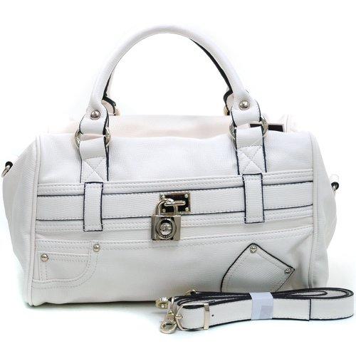 Belted Shopper Handbag (Anais Gvani Women's Fashion Belted Satchel Bag Handbag w/ Front Pocket Decor & Bonus Strap -Cream)