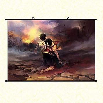 Wallscrolls Wonderland One Piece Stoffposter Ace Luffy Rollbild Plakat  Tapete Wandposter Wohnung Dekoration Geschenk Home