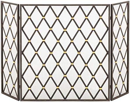 暖炉スクリーン 錬鉄黒い菱形暖炉スクリーンパーティション、ヨーロピアンスタイルの3倍リムーバブルリビングルーム暖炉のドア付きネット