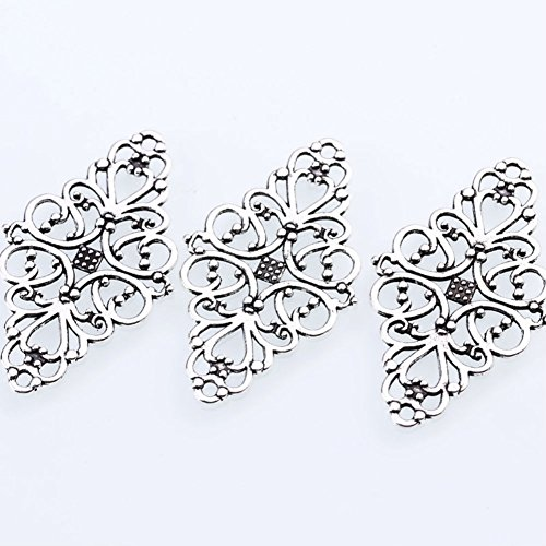 AKOAK 40 Pcs/Pack Antique Silver Hollow Filigree Flower Charms Jewelry Connectors Vintage Metal Zinc Alloy Trendy Filigree Charms for DIY Jewelry Making