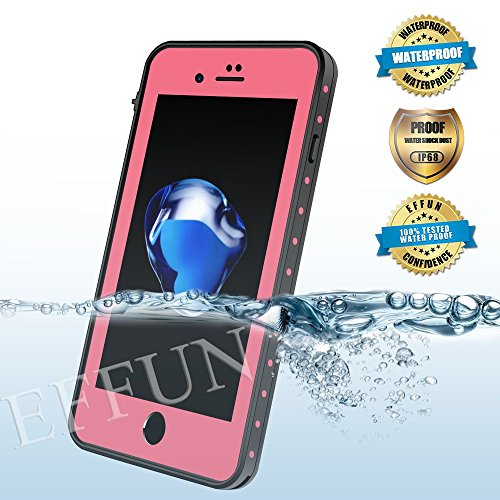 iPhone 8/iPhone 7 Waterproof Case, EFFUN IP68 Certified Underwater Cover Waterproof Shockproof Dirtproof Snowproof Full Sealed Case with PH Test Paper, Stylus Pen and Floating Strap Pink [New Version]