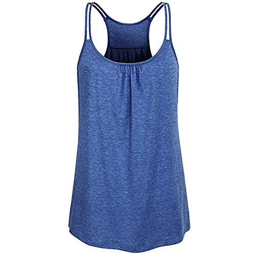(Peize Clearance Women Solid Scoop Neck Tank Tops, Ladies Sexy Yoga Workout Tank Top Camis Blouse (M, BU))