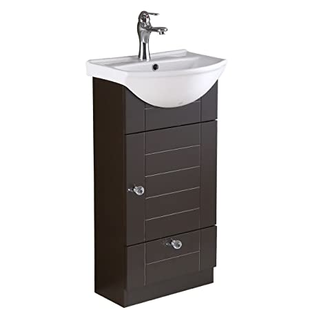 Small Bathroom Vanity With White Sink, Dark Oak Cabinet, Faucet And Drain