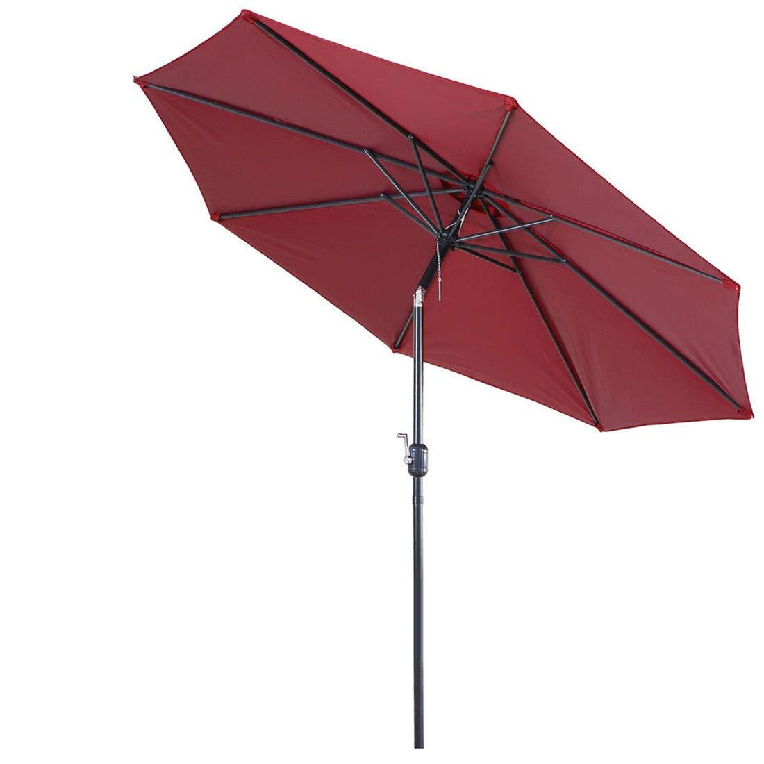 FARLAND Patio Umbrella 9 Ft Outdoor Table Aluminum Offset Market Umbrellas with Push Button Tilt and Crank