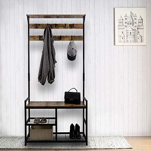 HOMEKOKO Coat Rack Shoe Bench, Hall Tree Entryway Storage Bench, Wood Look Accent Furniture with Metal Frame, 3-in-1 Design Rustic Brown