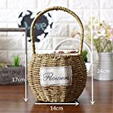 EXDJ Hand Baskets Wicker Rattan Flower Basket Pure Hand Woven Basket