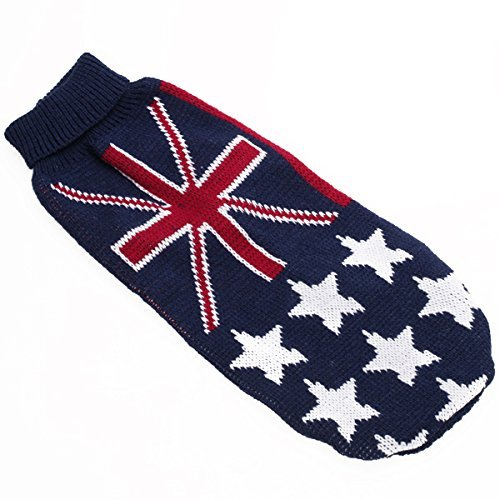 Enking Small Dog Puppy Knitted Turtleneck Sweater Clothes Union Jack Pattern (S)
