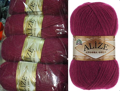 Mohair Wool Yarn Alize Angora Gold Thread Crochet Hand Knitting Turkish Yarn Lot of 4skn 400gr 2404yds Color 649 Ruby - Gold Mohair Yarn