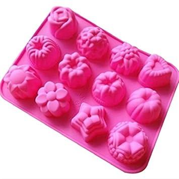 Moldes de silicona molde para tartas, chocolate, gelatina, Pudding, moldes de postre, 12 agujeros con flores, forma de corazón,: Amazon.es: Hogar