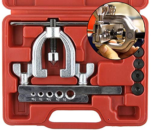- Double Flaring Tool Kit for Auto Brake Line - For Copper, Aluminum, Soft Steel Brake Line and Brass Tubing - Automotive Break Line Flare Repair Kit - Includes Mini Tubing Cutter and Storage Case - 10