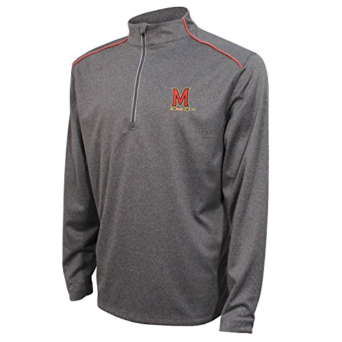 Crable NCAA Maryland Terrapins Men's Quarter Zip with Shoulder Piping Polo, Large, Black/Red