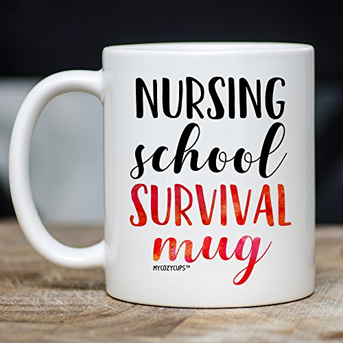 MyCozyCups Nursing Student Gifts - Nursing School Survival Mug - Funny Registered Nurse Assistant, Practitioner, RN, 11oz Coffee Cup For Women, Best Friend, Daughter, Mom, Wife - Graduation Present by MyCozyCups (Image #3)