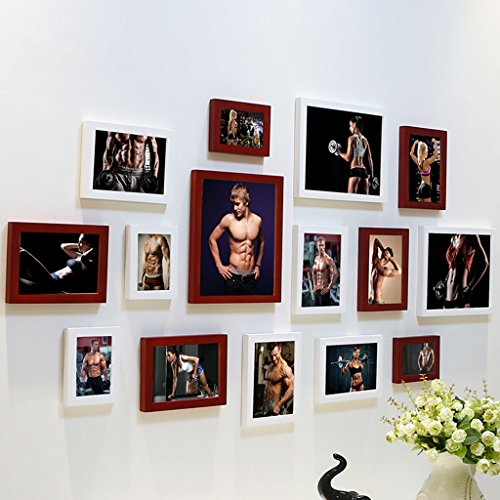 Home@Wall photo frame DIY Photo Frame Sets,Living Room Photo Frame Wall Creative Combination Sofa Background Frames Sets Of 15 ( Color : G , Size : 15frames/13575CM ) by ZGP