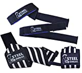 """Steel Sweat Wrist Wraps - Best for Weight Lifting, Powerlifting, Gym and Crossfit Training - Heavy Duty Support - Black: 18"""" Wraps & 22"""" Straps"""