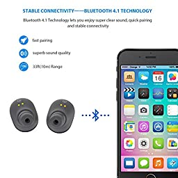 SoundPEATS Wireless Earbuds, True Wireless Stereo Bluetooth 4.1 Headphones with Charging box Cordless Earphones Sweatproof In-Ear Headset with Mic(Stereo/Mono mode)-Grey Black