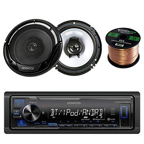 Kenwood Single DIN Bluetooth Digital Media Stereo, Kenwood KFC-1665S 6.5 2-Way Car Speaker Black and 50' 16 Gauge Wire