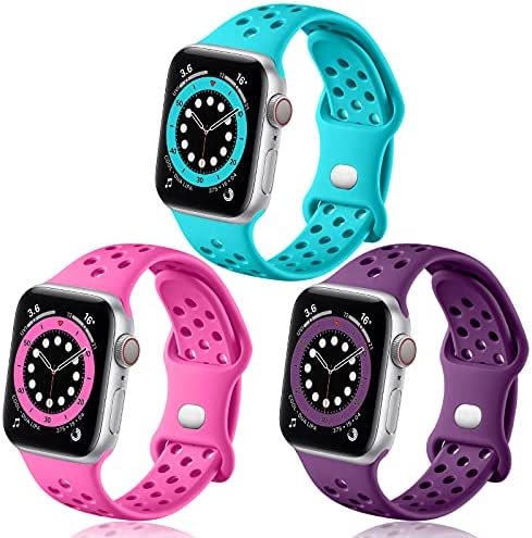 Rubinom Compatible with Apple Watch 44mm 42mm Women Men, Soft Sport Silicone Breathable Holes Replacement Wristband Accessories for iWatch SE & Series 6/5/4/3/2/1, 3 Pack of Teal/Rosy/Purple