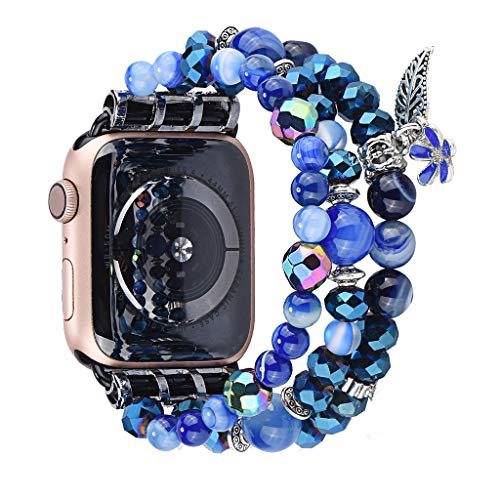 Sodoop Bracelet Compatible for Apple Watch Band 38mm/40mm Women Travel Fashion Handmade Elasticity Beads Strap Replacement Wristband for iWatch Series 4/3/2/1,Blue