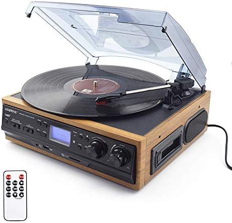 内蔵スピーカーAUX-でビニールLPレコードのターンテーブルプレーヤーカセットプレーヤーAM FMラジオUSB/SDプレーヤーW/リモートコントロール