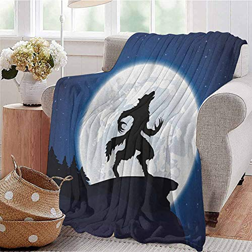 Luoiaax Wolf Bedding Microfiber Blanket Full Moon Night Sky Growling Werewolf Mythical Creature in Woods Halloween Super Soft and Comfortable Luxury Bed Blanket W70 x L84 Inch Dark Blue Black White