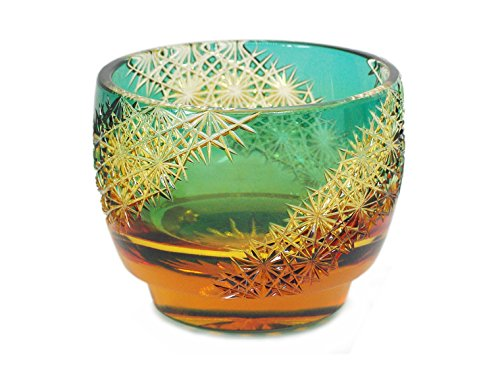 Ohba Glass Cut Glass 江戸切子 Edo Kiriko, Japanese Traditional Craft in Gift Box 光る宙 Milky Way (Green/Amber)