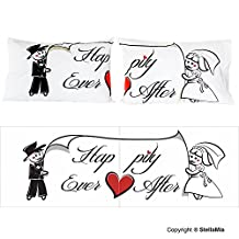 """StellaMia Couple's Pillowcase Set - Soft White Poly Cotton - """"Happily Ever After"""" - Matching Romantic Gift Idea for Couples Anniversary, Wedding, Engagement, Christmas or Holiday Gift for Him and Her, 20x30 Inches, 50x75 Centimeters"""